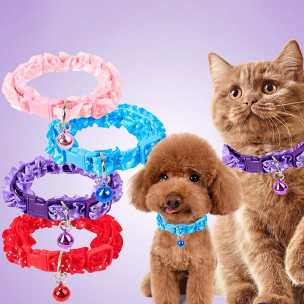 Adjustable Pet Dots Printed Buckle Collars with Bell for Small Dog Puppy Cat $0.99