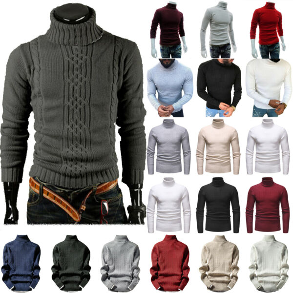 Men Knit Polo Roll Turtle Neck Pullover Sweater Casual Slim Stretch Jumper Top $22.79