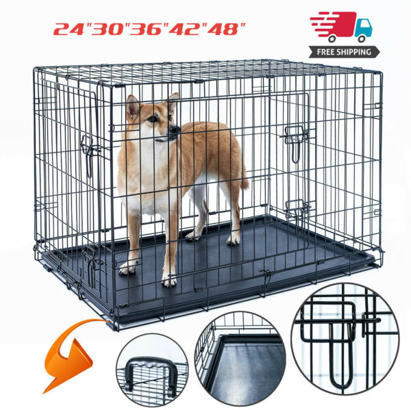 Dog Crate Kennel Folding Pet Cage Metal 2Door With Tray Black 24quot;30quot;36quot;42quot;48quot; $41.99