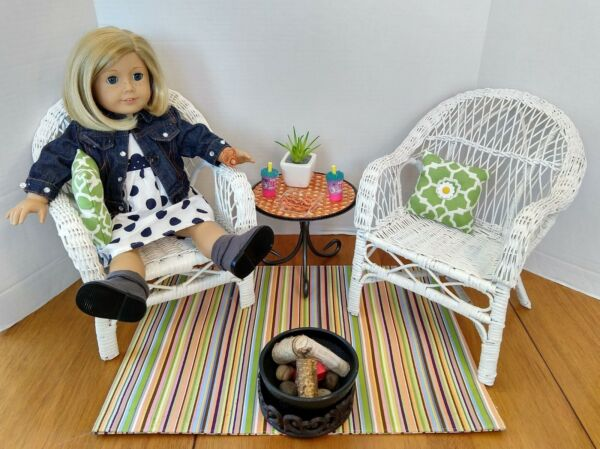 Wicker Patio and Fire Pit Set for 18 inch Dolls Hand Crafted