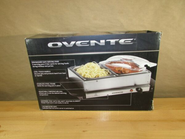 Ovente Electric Food Buffet Server amp; Warmer 2 Stainless Steel Chafing Dishes