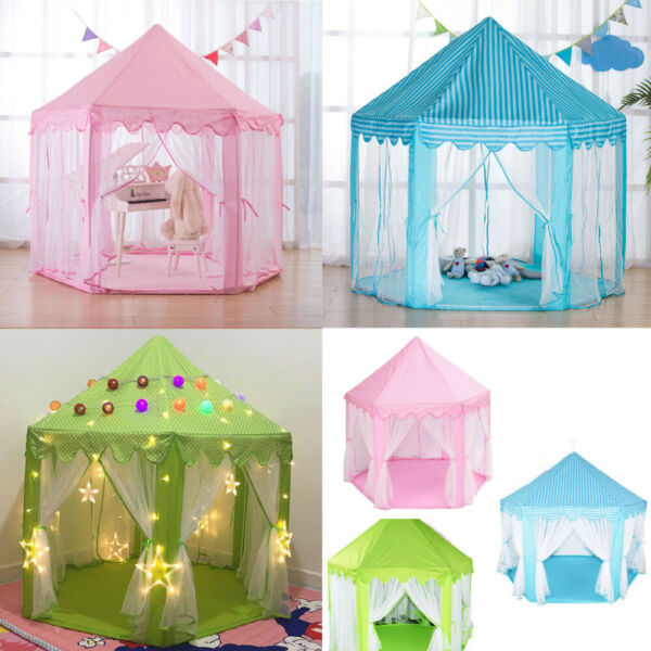 Kids Indoor Large Play Tent Girls Princess Castle Cute Hexagon Playhouse Shades $34.02