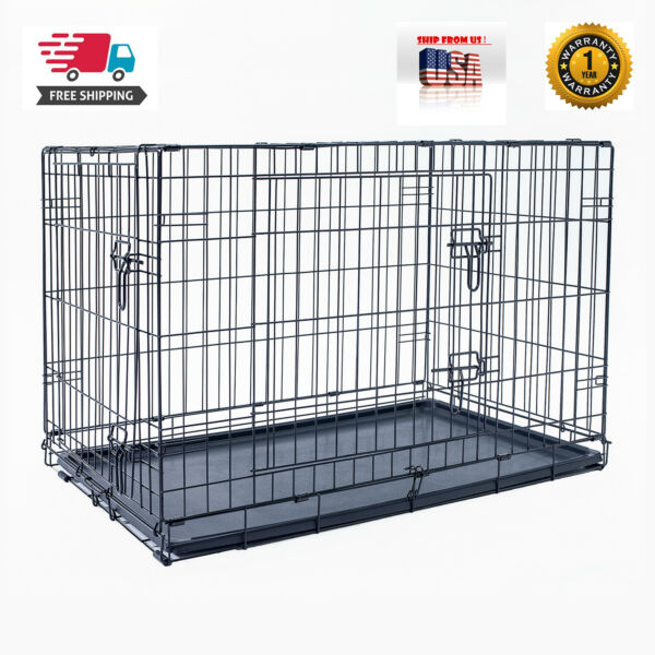48quot; Dog Crate Kennel Folding Pet Cage Metal 2 Door With Tray Black $70.99