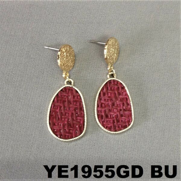 Bohemian Style Burgundy Oval Burlap Material Charm Gold Finish Stud Earrings