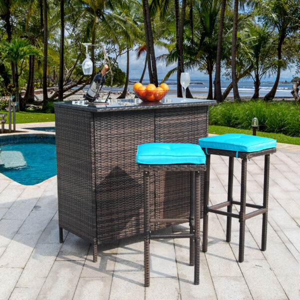 3 Piece Outdoor Wicker Bar Stools Set Patio Rattan Furniture Set with Cushions
