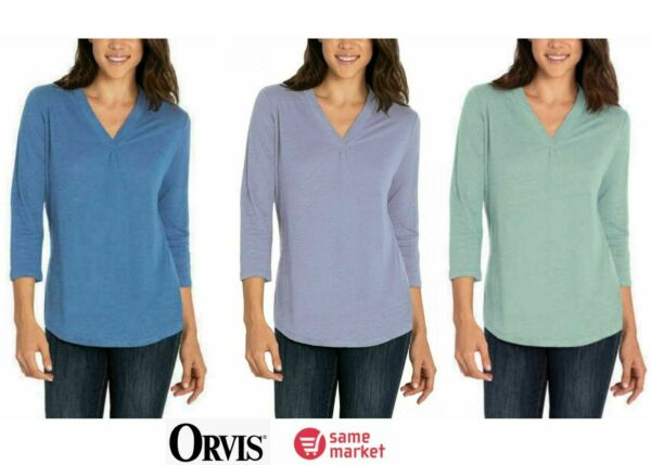 NEW Orvis Women#x27;s 3 4 Sleeve Linen Shirt Color amp; Size VARIETY