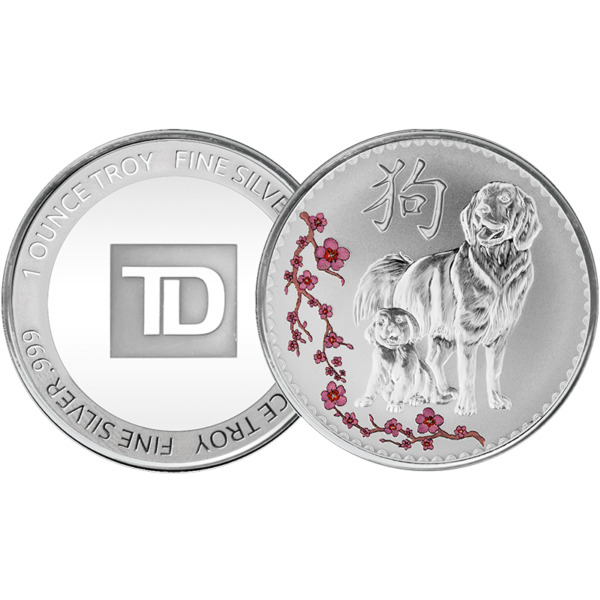 1 oz. TD Year of the Dog Silver Round C $47.95