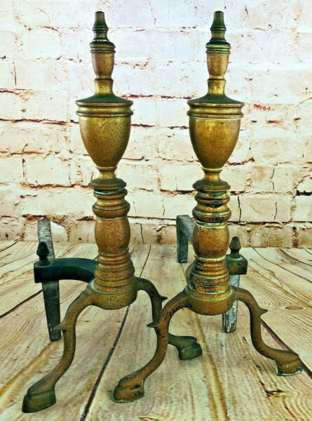 Vintage Brass Heavy Metal Fireplace Andiron Set Pair 2 Antique Style Log Holder