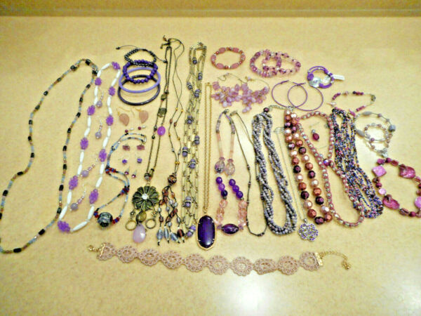 Huge 36 Piece Lot Vintage Now Purple Color Costume Jewelry ALL WEARABLE 1 Lbs