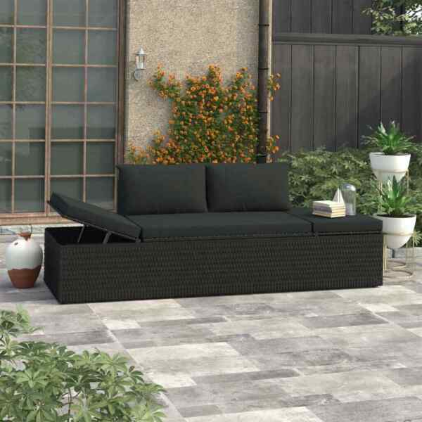 Outdoor Sun Bed with Cushions Poly Rattan Patio Chaise Lounge Garden Yard Sofa $181.99