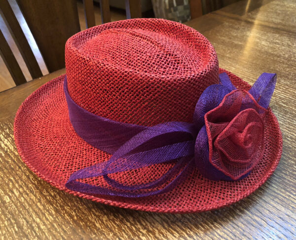 Women#x27;s Red Hat Society Red Straw Hat with Burlap Purple Flower Band One Size