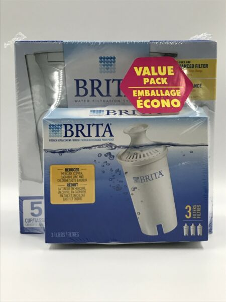 New Brita Slim Pitcher 5 Cup White And 4 Filter Bundle Pack Sealed Unopened
