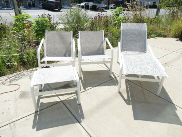 Brown Jordan Outdoor Furniture Chat Set w Slings amp; Matching Chaise lounge $750.00