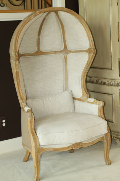 Vie Boutique Oak and Linen Louis XV Style Hooded Porter#x27;s Chair