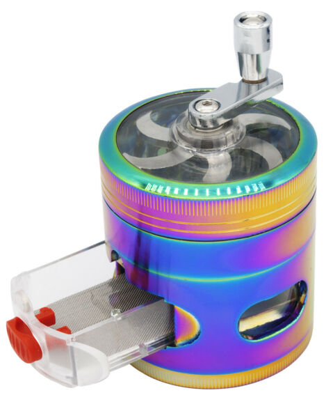 2.4quot; 4 PC Rainbow Tobacco Herb Spice Grinder W Handle Crank amp; Drawer Crusher