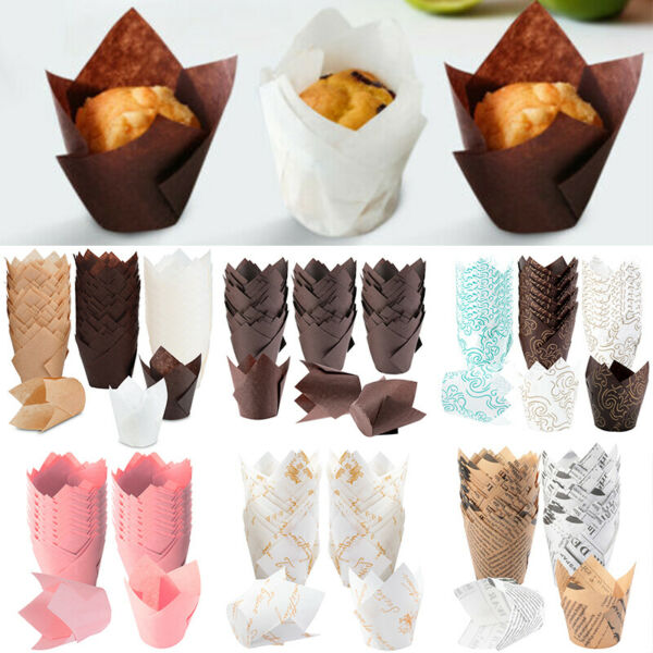 150 100 Pack Tulip Muffin Wrappers Large Cupcake Paper Liners Baking Cup Holder
