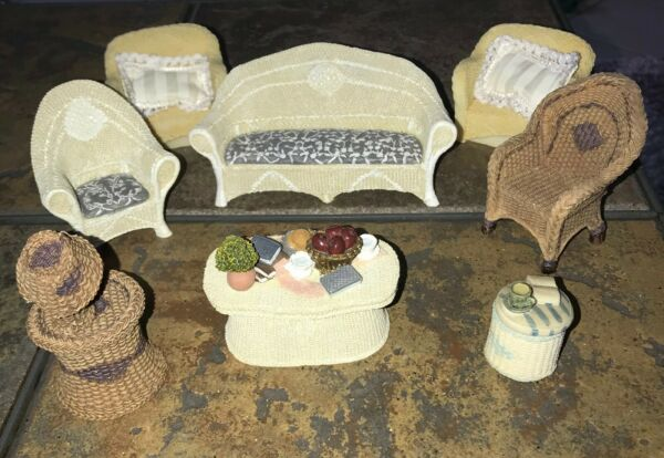 VTG POPULAR IMPORTS RESIN DOLLHOUSE WICKER PATIO FURNITURE LOT Miniature CHAIRS $29.99