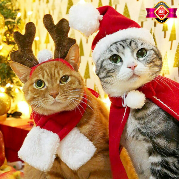 Christmas Cat Dog Costumes Winter Hat Red Scarf Deer Head Cloak Warm Pet Clothes $2.99