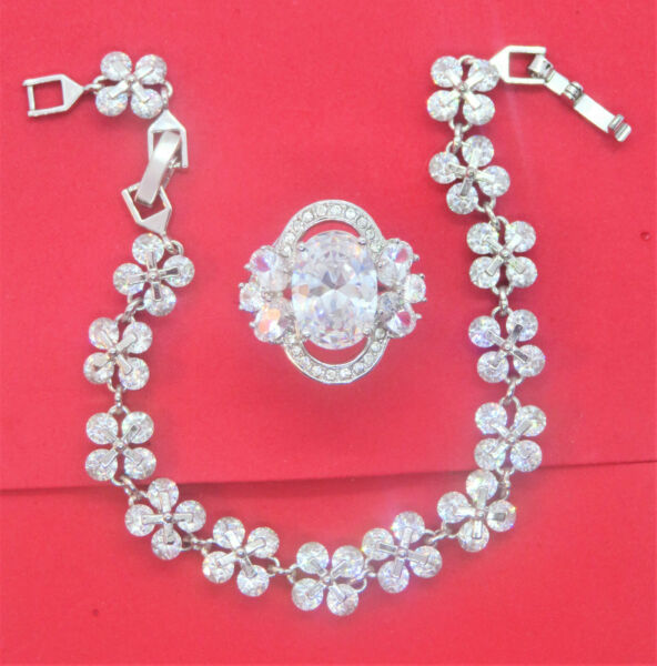 fancy large cubic zirconia zinc alloy flower ring size 7 amp; flower bracelet set $20.00