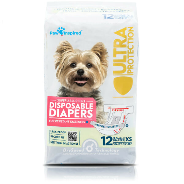 12ct Paw Inspired Dog Diapers Disposable for Female Doggie Puppy in Heat Period $14.99