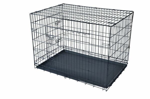 Black 36*2 Door Pet Cage Folding Dog*Divider Cat Crate Cage Kennel*Tray LC $57.83