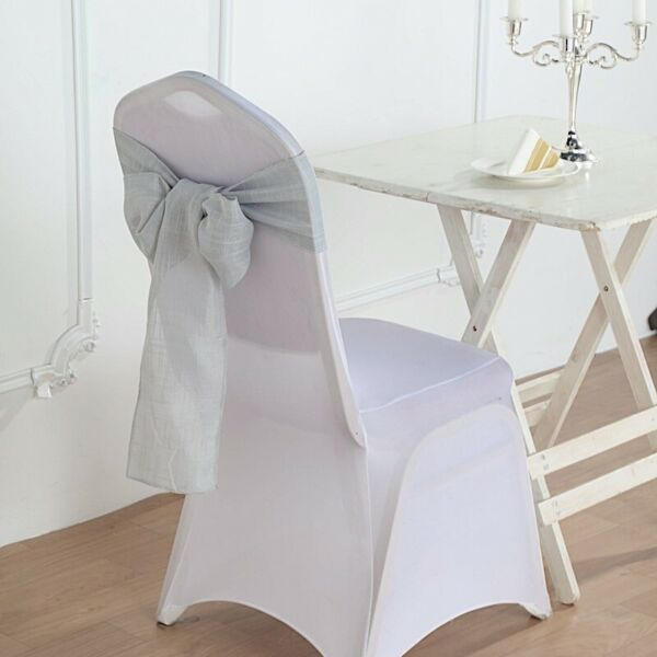 5 SILVER CHAIR SASHES Premium Polyester Faux Burlap Wedding Decorations