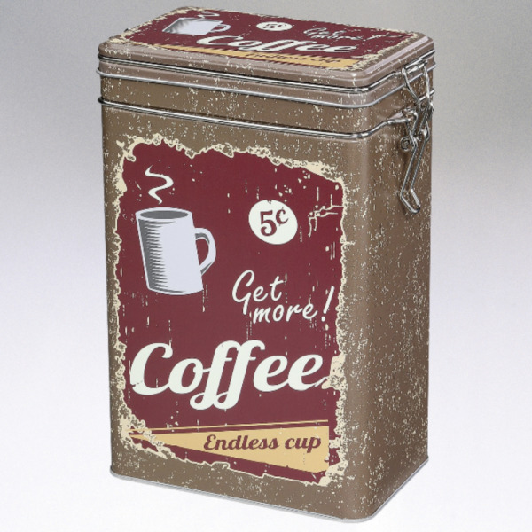 Coffee Storage Tin with Silicone Seal Brown