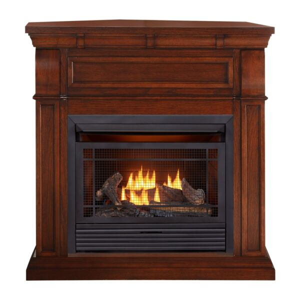 Duluth Forge Dual Fuel Ventless Gas Fireplace With Mantel 26000 BTU