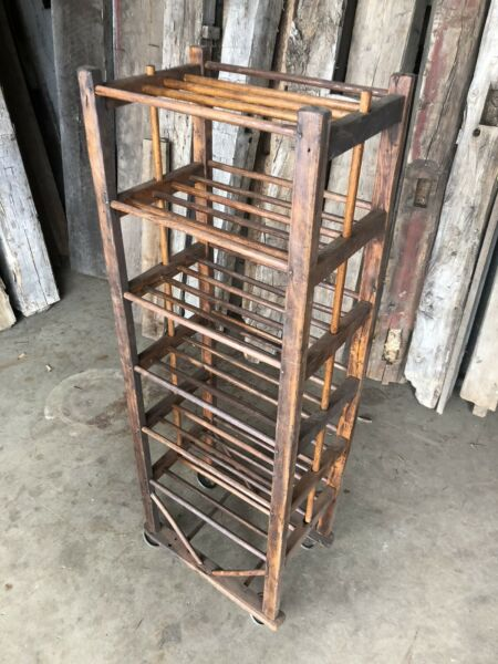 """Authentic Antique Shoe Factory Rack With Dowel Shelves 22"""" Wide X 54"""" Tall"""