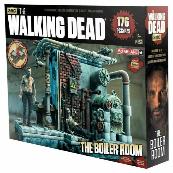 amc THE WALKING DEAD McFARLANE BOILER ROOM BUILDING PLAY SET NEW MIB 176 PIECES $23.95