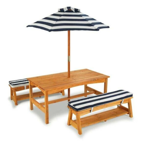 KidKraft Outdoor table and Chair Set with Cushions Navy Stripes Picnic Umbrella $229.99