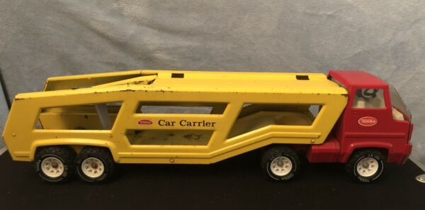 Vintage Tonka Yellow Car Steel Toy Carrier and Red Semi Hauler Truck amp; Trailer $64.99