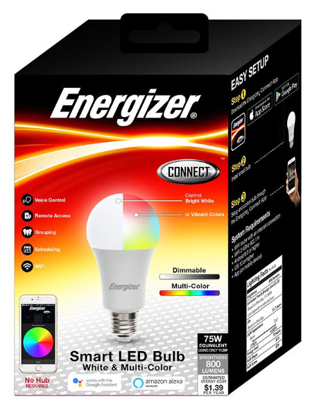 Energizer Smart LED Bulb Wifi Voice Control Remote Access Dimmable Multi Color