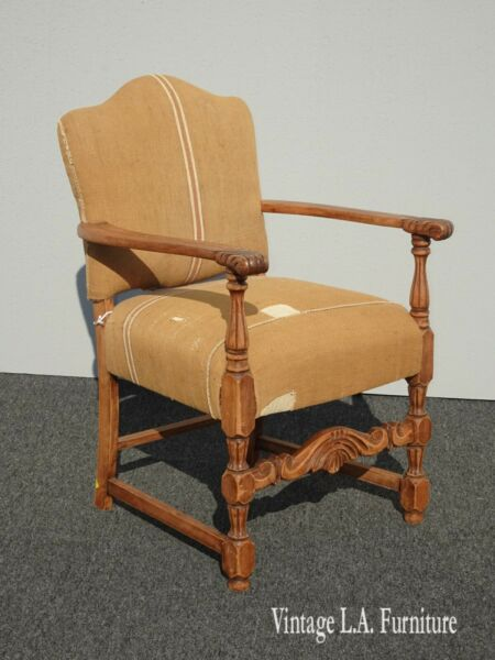 Vintage French Country Farmhouse Chic Custom Upholstered Burlap Linen Side Chair