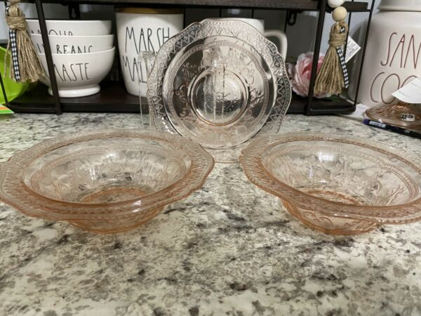 SET of THREE Federal Glass Pink Patrician Spoke 6quot; Cereal Bowls