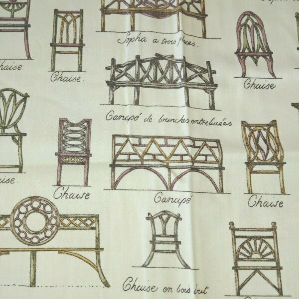 Waverly Cotton Drapery Fabric Brown Furniture French Screen Print 56quot; By Yard