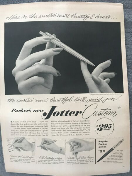 Parker Jotter Pens The Worlds Most Beautiful Pen 1954 Vintage Print AD A84