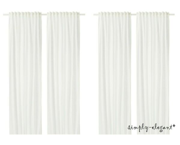 2 Pairs IKEA AINA CURTAINS Ikea LINEN Panels Window Drapes White Off White