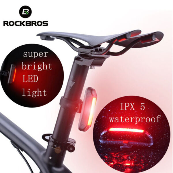 ROCKBROS Bike Rear Light USB Rechargeable Super Bright Led Red Cycling Taillight $12.99