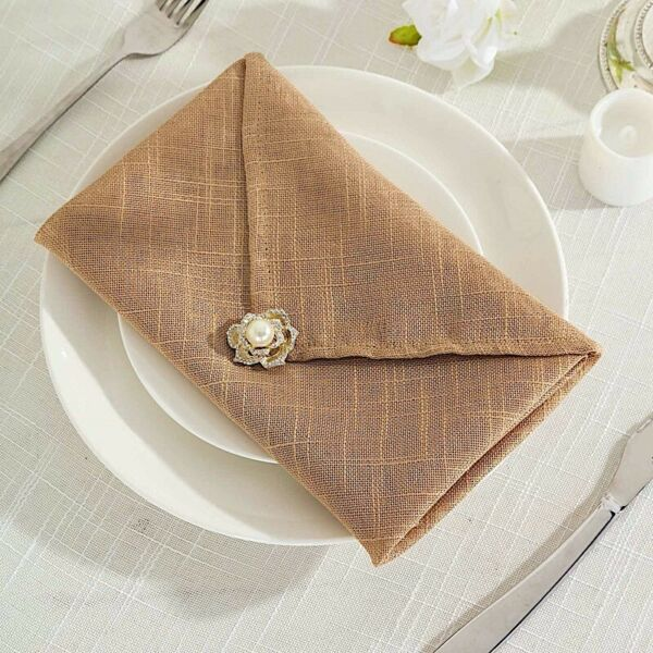 5 NATURAL 20quot; Faux Burlap TABLE NAPKINS Premium Polyester Party Linens