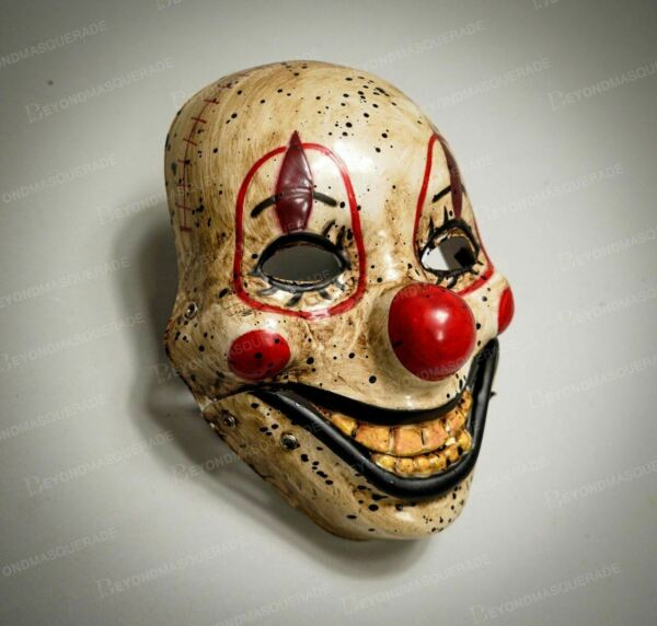 Creepy Clown Face Mask Scary Halloween Masquerade Mask Fun Clown Smile Adult Kid