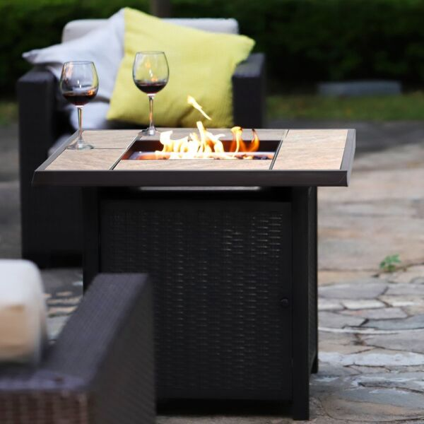 32quot; 50000BTU Outdoor Gas Fire Pit Propane Gas Heater Patio Table with Blue glass