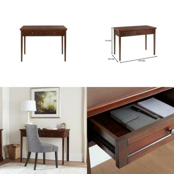 44 in. Rectangular Brown 2 Drawer Writing Desk with Solid Wood Material $347.23