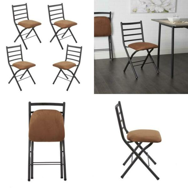 Mainstays Two Tone Ladder Back Folding Chair with Microfiber Seat 4 Pack $123.44
