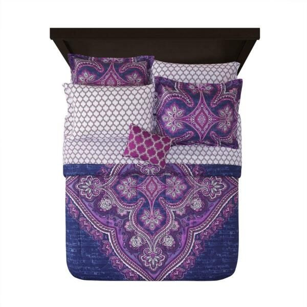 Mainstays Grace Medallion Purple Bed in a Bag Complete Bedding Twin Twin XL $47.14