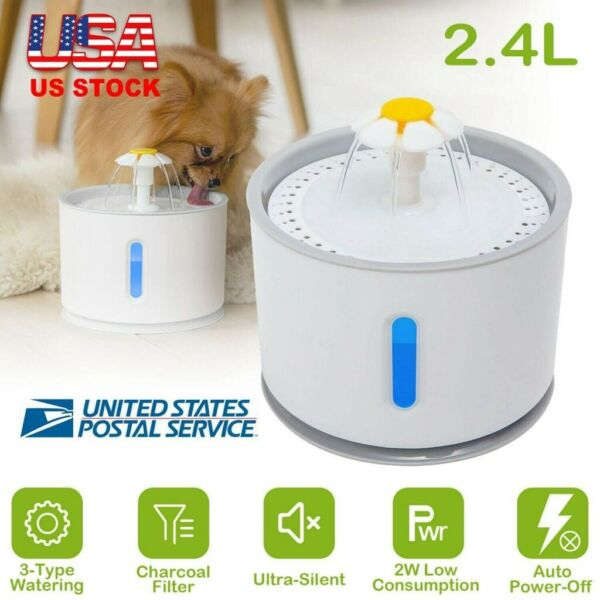 2.4L Automatic Dog Cat Electric Mute Water Fountain USB Pet Bowl Drinking Filter $21.65