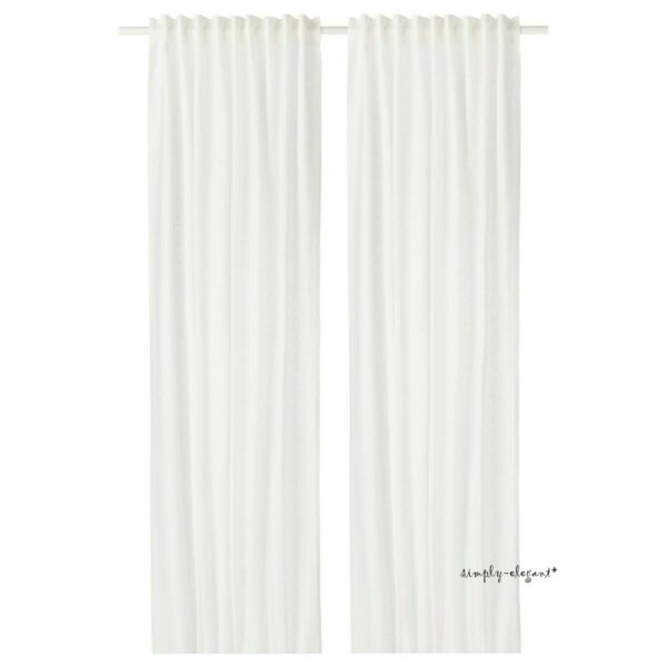 IKEA Aina Pair of CURTAINS Ikea LINEN Panels AINA Window Drapes WHITE NEW NIP