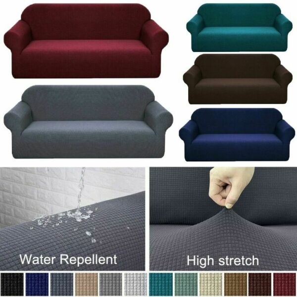 Waterproof Non Slip Slipcover 1 2 3 4 Seater Stretch Chair Couch Sofa Cover $6.59