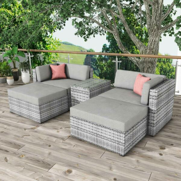 5 PCS Outdoor Patio Furniture Sets All Weather Sectional Sofa Wicker Rattan Sofa $1424.98