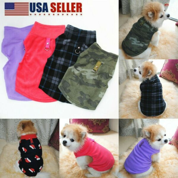Pet Small Dog Fleece Harness Vest Jumper Sweater Coat Puppy Shirt Jacket Apparel $6.95